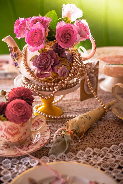 """cutecottageoverload: Afternoon Tea Table. All themed around """"English Afternoon Tea"""" with lot´s of vintage tableware, roses and lace."""