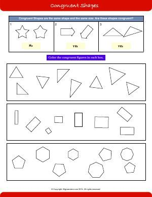 Worksheet Congruent Shapes Color The Congruent Shapes In Each