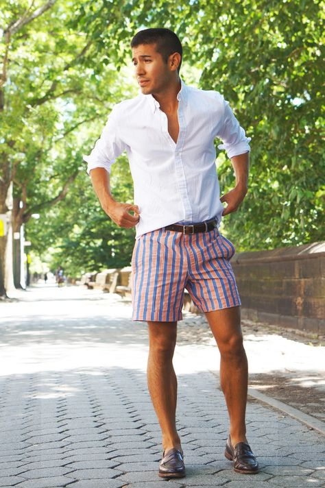 f4ba097f282 Striped shorts + white dress shirt + brown penny loafers