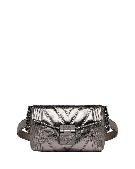 89fc555da68 MCM | Patricia Quilted Metallic Leather Belt/Crossbody Bag - Berlin Silver  | USD 950.00 | MCM quilted metallic belt bag in leather. Approx.