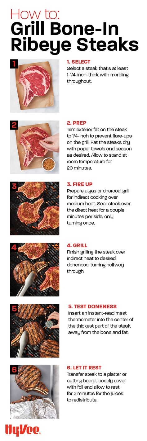 How To Grill Bone-In Ribeye Steaks Grilling Ribeyes? Learn how to get a good char on the outside, juicy pink interior, and irresistibly tender texture. Grilling Tips, Grilling Recipes, Cooking Recipes, Carne Asada, Steaks, Bone In Ribeye, How To Grill Steak, Grilled Meat, Pink
