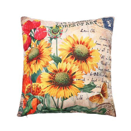 Home Decor Art Cotton Linen Throw Pillow Case Sofa Bed Car Waist Cushion Covers