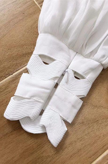 Westfront - Vestido Curto Branco em Puro Algodão, Luxo - Westfront