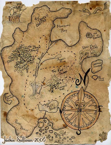 Everything Peter Pan / pirate treasure map Pirate Treasure Maps, Pirate Maps, Pirate Theme, Treasure Hunt Map, Treasure Maps For Kids, Treasure Hunting, Vintage Maps, Vintage Diy, Vintage Scrapbook