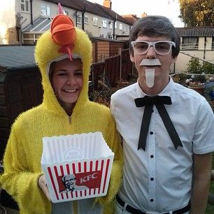 Colonel Sanders and a chicken. | 50 Couple Costume Ideas To Steal This Halloween