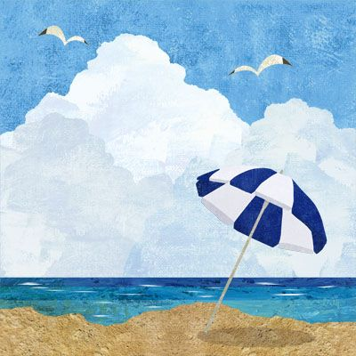 海とビーチパラソル 海 イラスト イラスト 海