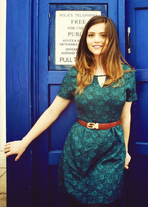 Jenna-Louise Coleman - I like the shape of the dress, the collar, and the sleeves. The belt is cute with it, too! I could wear her style.