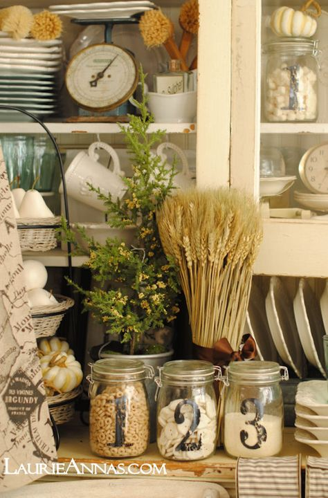 Old glass, old wicker and chippy white paint!