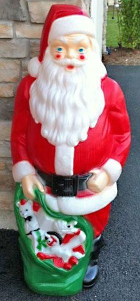Vintage Plastic Outdoor Christmas Decorations.Large Giant Santa Claus Lighted Plastic Blow Mold Light