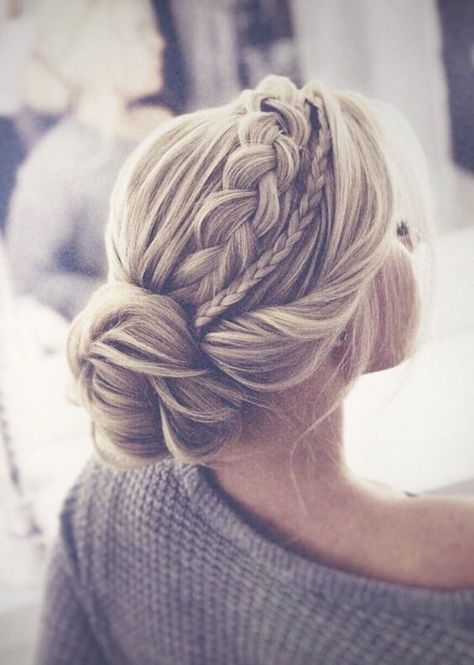 The most perfect braided updo twisted into an elegant low bun. This hairstyle is… The most perfect braided updo twisted into an elegant low bun. This hairstyle is…,Braids The most perfect braided updo twisted. Braided Hairstyles For Wedding, Pretty Hairstyles, Updo For Long Hair, Wedding Headpieces, Updo Hairstyles For Prom, Updos For Medium Length Hair, Low Bun Wedding Hair, Chic Hairstyles, Bridesmaid Hair Medium Length