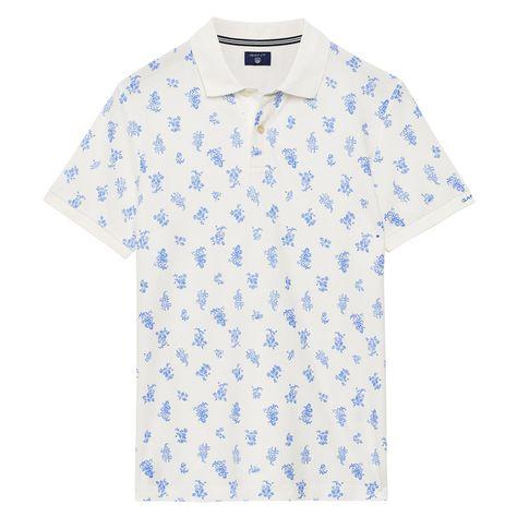 2981483e7fd GANT: White Flower Print Pique Polo Shirt men   GANT USA Store