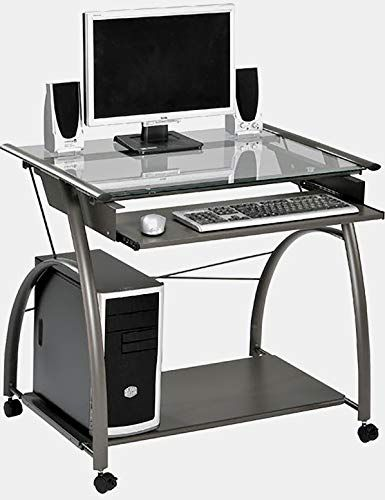 Metal Desk With Glass Top And Casters Rectangular Computer Desk