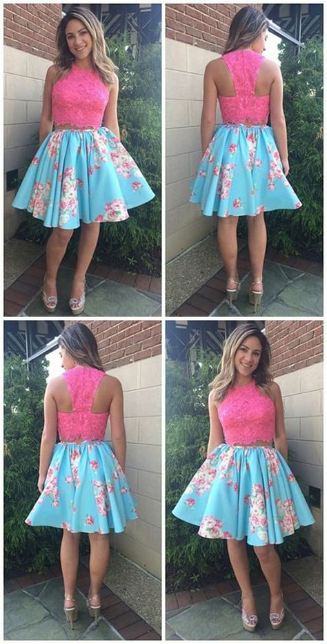 59576b2395f Two Piece Round Neck Short Blue Floral Satin Homecoming Dress with Appliques