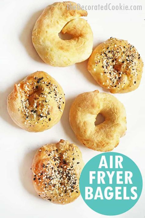 AIR FRYER BAGELS -- with 2-ingredient yogurt and self-rising flour dough.