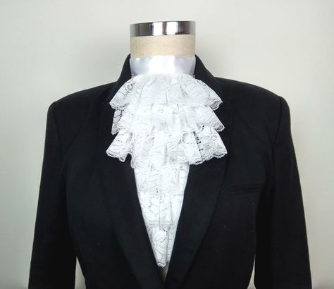 White Colonial Jabot Shirt Front Dickie Victorian Steampunk Edwardian Pirate Guy