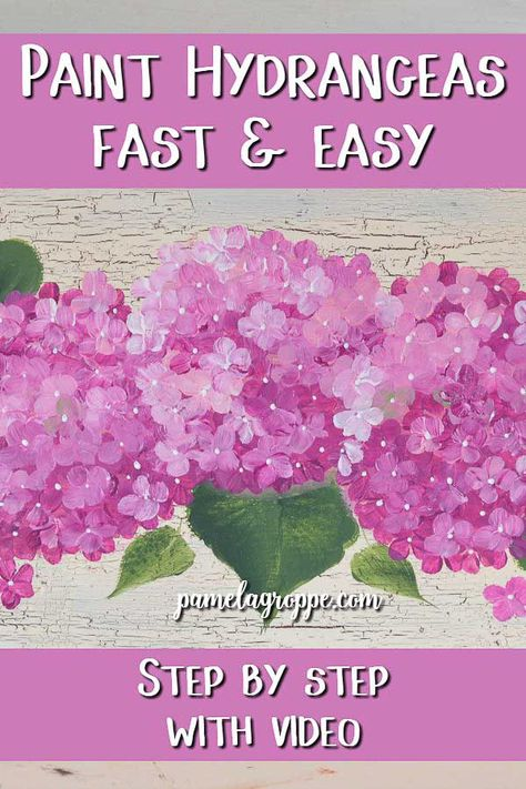 Learn how to paint pretty pink hydrangeas fast and easy. Beginner friendly lesson with step by step instructions. A free video is included for you to watch over and over again. A great starting painter project. Paint a sign or canvas, the choice is yours. Hydrangea Painting, Acrylic Painting Flowers, One Stroke Painting, Acrylic Painting Techniques, Tole Painting, Painting Tips, Painting Canvas, Acrylic Canvas, Guache