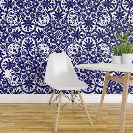 Peel And Stick Removable Wallpaper Vintage Blue Tile Modern Decor Indian Walmart Com Peel And Stick Wallpaper Wallpaper Panels Tile Wallpaper