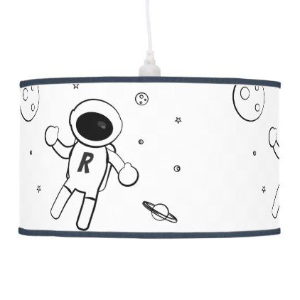 Astronaut In Space Sketched Art In Black White Ceiling Lamp Zazzle Com Ceiling Lamp White Ceiling Lamp Lamp