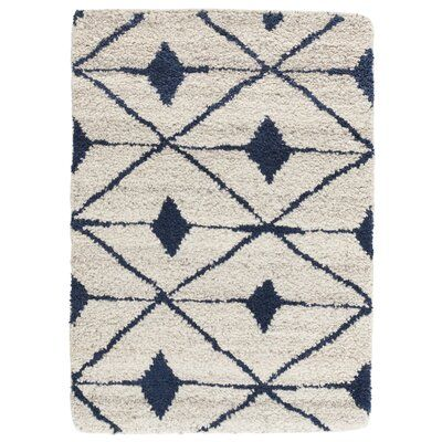 Dash And Albert Rugs Kenitra Geometric Hand Knotted Shag Ivory Navy Area Rug Wool Area Rugs Dash And Albert Rugs Wool Rug