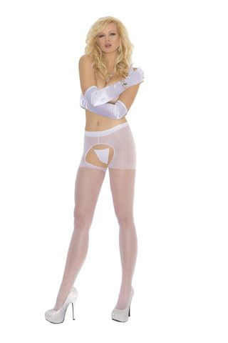 75647a540 Sheer crotchless pantyhose White