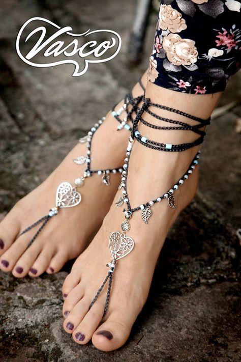 Herz Boho barfuß Sandale, häkeln Hippie Schuhe, Yoga, Bauchtanz, Silber Gypsy Sandalen