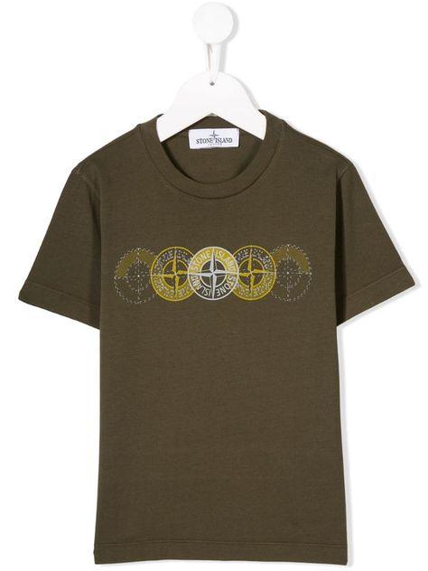 Stone Island Junior Khaki Logo T Shirt Green Tshirt Logo Stone Island