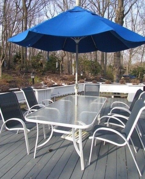 Fortunoff Cape Cod Blue Sling Chair Patio Set Rectangle Glass Table Umbrella Fortunoff Patioset Patio Capecod Blueslingchair Patio Patio Set Outdoor