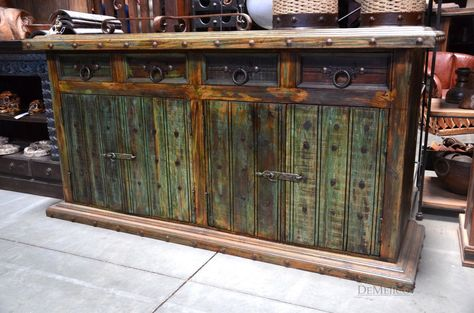 we loved adding the hardware accents to this old door buffet