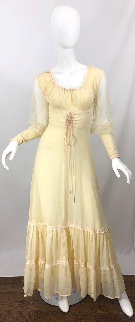 For Sale on - Beautiful Victorian inspired pale yellow cotton voile and lace maxi dress! Semi sheer lace sleeves with fitted cotton Vintage Gowns, Vintage Outfits, Vintage Fashion, Modern Victorian Fashion, Modern Vintage Dress, Vintage Party Dresses, 1800s Dresses, Old Dresses, Pretty Outfits