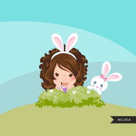 Easter bunny clipart, cute characters, egg hunt, scavenger illustration, art scrapbooking, card maki