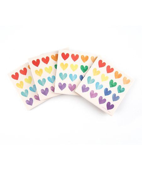 Thirstystone Watercolor Hearts Coaster - Set of Four | Zulily