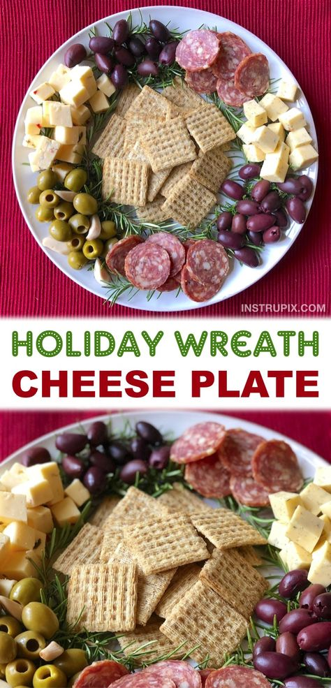Looking for quick and easy cold appetizer ideas for Christmas? Simply arrange a cheese plate like a holiday wreath! So simple to make. A no bake, make ahead cold party appetizer for the holidays. Holiday Wreath Cheese Plate #christmas #appetizers #fingerfood #holidays #instrupix