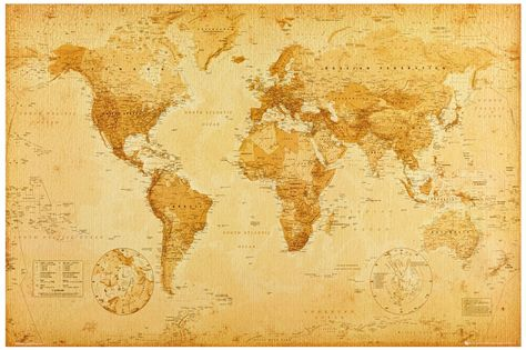 Amazon Com Map Of The World Vintage Retro Image Xxl Poster