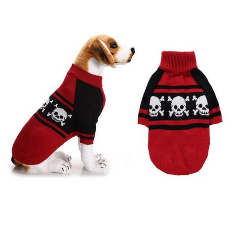 Material : OtherSeason : Spring/AutumnPattern : OtherStyle : punkColor : RedMaterial : AcylicPattern : SkullSize : XXS   XS   S  M  L  XL  XXLDogs Clothes : Dog SweatersPet Clothing : Puppy CoatFeature : Pet HoodieDogs : For Small Large DogsPuppy : Teddy Yorkies ChihuahuaSpecifications: Material: AcrylicColor: Red blackSize:  XXS XS S  M L XL XXLXXS       Neck   22cm      Chest   24cm       Length   20cmXS          Neck   24cm      Chest   28cm       Length   23cmS             Neck   26cm      C