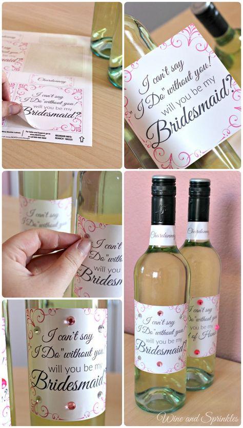 FREE PRINTABLES! Bridesmaid Proposal Wine Label #wine #bridesmaidproposal