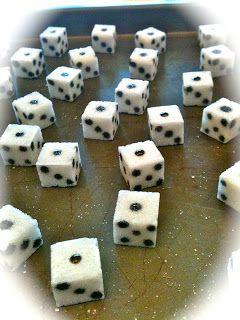 sugar cube dice... for bunco cupcakes!