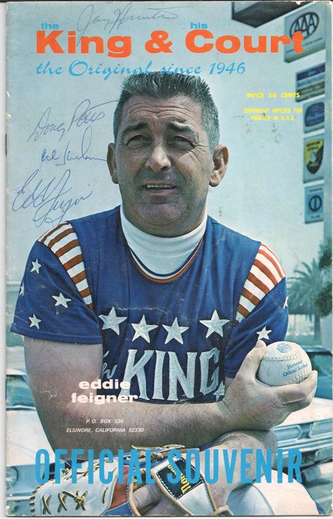 Eddie Feigner King And His Court Program Autographed Baseball Cards Sports Baseball