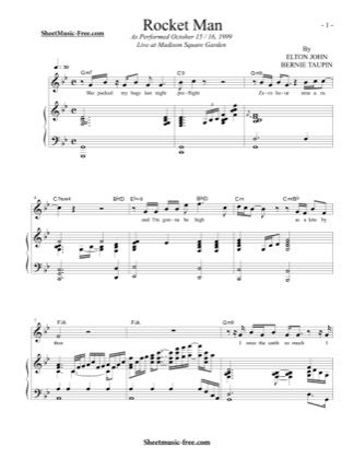 Print And Download For Free Rocket Man Piano Sheet Music By Elton