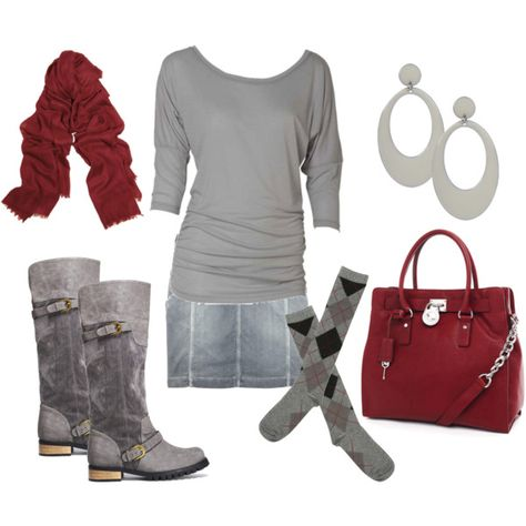 Gray and wine, created by jnifr on Polyvore