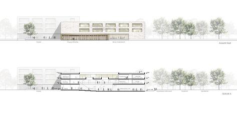 Ansicht Sud Und Schnitt A C Sehw Architektur Architektur