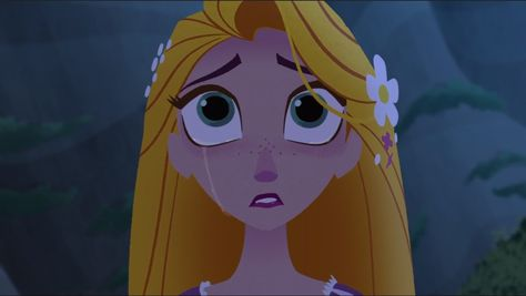 Rapunzel's tear as she watches the place she called home for the longest time is destroyed and collapses in front of her.