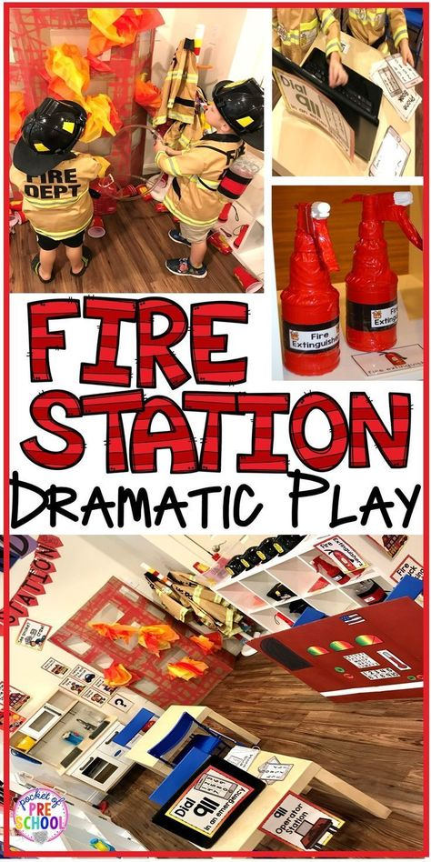 Play Fire Station dramatic play is so much for a fire safety theme or community helpers theme.Fire Station dramatic play is so much for a fire safety theme or community helpers theme. Dramatic Play Themes, Dramatic Play Area, Dramatic Play Centers, Preschool Dramatic Play, Fire Safety Week, Fire Safety For Kids, Fire Prevention Week, Community Helpers Preschool, Play Based Learning