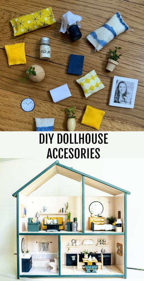 Dollhouse accessories made out of things you likely have on hand or can find for cheap! Dollhouse accessories made out of things you likely have on hand or can find for cheap! Modern Dollhouse Furniture, Diy Barbie Furniture, Furniture Plans, Barbie Furniture Tutorial, Furniture Websites, Maison Sylvanian Families, Diy Dolls House Accessories, Cheap Accessories, Ikea Dollhouse