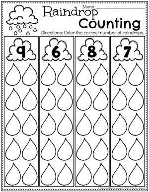 Weather Activities - Planning Playtime - Sayılar - Weather Worksheets for Preschool – Raindrop Counting - Weather Activities Preschool, Preschool Printables, Preschool Lessons, Preschool Worksheets, Kindergarten Math, Preschool Activities, Fun Worksheets For Kids, Weather Worksheets, Weather Crafts