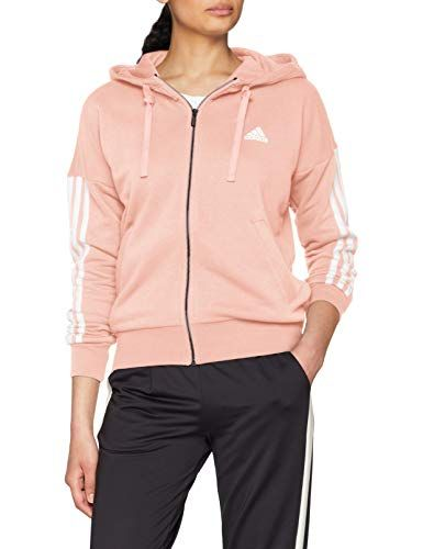 decff12364c1 Adidas ESS 3S FZ HD Chaqueta para Mujer Naranja/Blanco (Haze Coral s17)