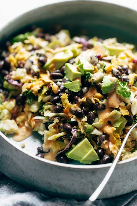 Cheater's Power Salad - kale, cabbage, avocado, green onion, cilantro, black beans, crispy onions, tortilla strips, chicken, and BBQ ranch dressing, made from a salad mix! I KNOW. perfect for easy lunches! #lunch #salad #healthyeating #cleaneating #dinner #lunch #simplerecipe | pinchofyum.com