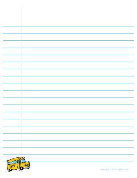 Back To School Lined Paper With School Bus Writing Templates