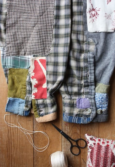 extreme mending, sledding lambs and the 100 day project – ann wood handmade Boro, Textiles, Make Do And Mend, How To Make, Jeans Recycling, Visible Mending, Darning, Cycling Outfit, Flannel Shirt