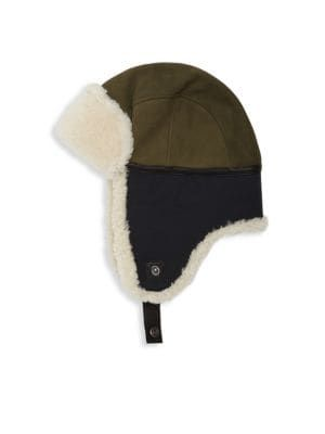 110f0a6b4 UGG Mixed Media Shearling & Faux-Shearling Leather Trapper Hat. #ugg ...