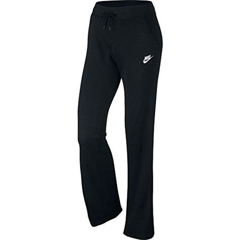 NWT Nike Womens NSW Fleece Open Hem Pants 803652-010 Black White Sz Medium